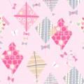 Κουρτίνες με το μέτρο για παιδικά δωμάτια, για κορίτσια , για αγόρια , για bebe δωμάτια Kites 01 χαρταετοί σε ροζ-γκρι αποχρώσεις Digital Print βαμβακερό Φ280 χωρίς διαφάνεια