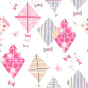 Κουρτίνες με το μέτρο για παιδικά δωμάτια, για κορίτσια , για αγόρια , για bebe δωμάτια Ribbon 01 χαρταετοί σε ροζ-γκρι αποχρώσεις Digital Print βαμβακερή γάζα Φ280 ημι-διάφανη