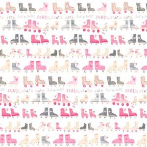 Κουρτίνες με το μέτρο για παιδικά δωμάτια, για κορίτσια , για αγόρια , για bebe δωμάτια Roll 01 roller skates πατίνια σε ροζ-γκρι αποχρώσεις Digital Print βαμβακερό Φ280 χωρίς διαφάνεια
