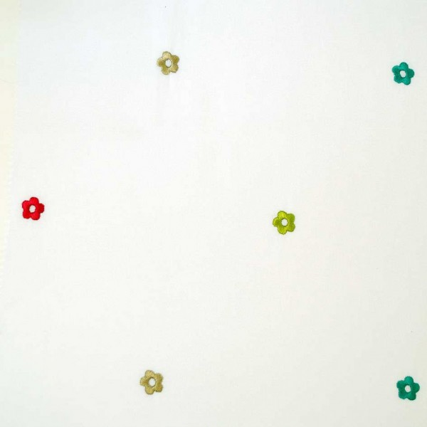 Κουρτίνες με το μέτρο για παιδικά δωμάτια, για κορίτσια , για αγόρια , για bebe δωμάτια Mayo col.21 Φ3.00 κεντητή φούξια πράσινο λαχανί λουλούδια floral βαμβακερή ,ημι-διάφανη