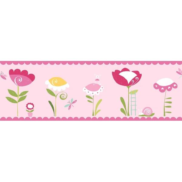 Μπορντούρες Τοίχου για παιδικά δωμάτια, για κορίτσια , για αγόρια , για bebe δωμάτια 221 col.1σε ροζ  φόντο από το υπέροχο τοπίο του μαγικού κόσμου των νεράιδων