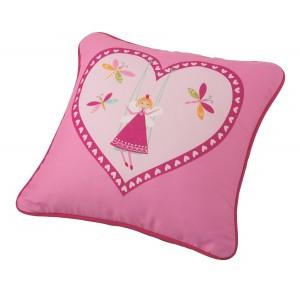 Μαξιλάρι για παιδικά δωμάτια, για κορίτσια , για αγόρια , για bebe Galleta col.1 45Χ45  με ροζ φούξια καρδιά με νεράιδα