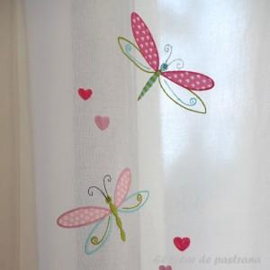 Κουρτίνες με το μέτρο για παιδικά δωμάτια, για κορίτσια , για αγόρια , για bebe δωμάτια Malula col.1 Φ3.00 εκρού φόντο με κεντημένες ροζ λιλά πεταλούδες βαμβακερή ,ημι-διάφανη