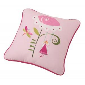 Μαξιλάρι για παιδικά δωμάτια, για κορίτσια , για αγόρια , για bebe  Pandora col.1 45X45 με ροζ φούξια λουλούδι με νεράιδα