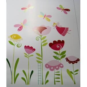 Stickers για παιδικά δωμάτια, για κορίτσια , για αγόρια , για bebe δωμάτια  A16 75Χ100 με νεράιδες σε λιλά φούξια αποχρώσεις