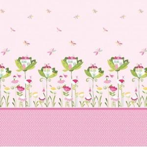 Κουρτίνες με το μέτρο για παιδικά δωμάτια, για κορίτσια , για αγόρια , για bebe δωμάτια Alberta col.1 Φ2,80 ροζ φόντο με λιλά φούξια νεράιδες  βαμβακερό , χωρίς διαφάνεια