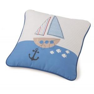 Μαξιλάρι για παιδικά δωμάτια, για κορίτσια , για αγόρια , για bebe Barco col.1 45Χ45  με ναυτικό θέμα σε μπλε κόκκινες αποχρώσεις