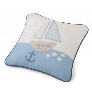 Μαξιλάρι για παιδικά δωμάτια, για κορίτσια , για αγόρια , για bebe Barco col.2 45 χ 45  με ναυτικό θέμα σε μπλε εκρού αποχρώσεις