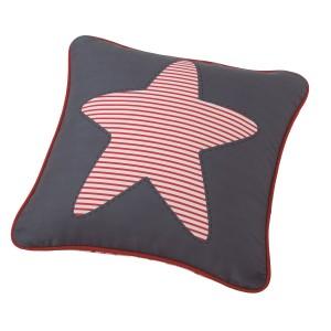 Μαξιλάρι για παιδικά δωμάτια, για κορίτσια , για αγόρια , για bebe Estrella col.1 45Χ45 αστέρι σε μπλε φόντο με κόκκινες ρίγες