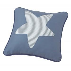 Μαξιλάρι για παιδικά δωμάτια, για κορίτσια , για αγόρια , για bebe Estrella col.2 45Χ45  αστέρι σε σιέλ φόντο με γαλάζιες ρίγες