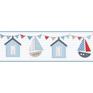 Μπορντούρες Τοίχου για παιδικά δωμάτια, για κορίτσια , για αγόρια , για bebe δωμάτια 219 col.1 με ναυτικό θέμα ! Ιστιοφόρα, γιρλάντες με σημαίες ,σπιτάκια παραλίας