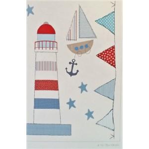 Stickers για παιδικά δωμάτια, για κορίτσια , για αγόρια , για bebe δωμάτια  A13 75Χ100 με ναυτικό θέμα ! Ένας φάρος, ένα ιστιοφόρο, μια γιρλάντα από σημαίες