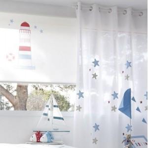 Ρολο-Κουρτίνες , Πάνελς για παιδικά δωμάτια, για κορίτσια , για αγόρια , για bebe δωμάτια Marea col.1 με ναυτικό θέμα φάρος