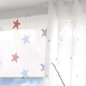 Ρολο-Κουρτίνες , Πάνελ για παιδικά δωμάτια, για κορίτσια , για αγόρια , για bebe δωμάτια Playa col.1 με αστεράκια σε μπλε κόκκινες αποχρώσεις