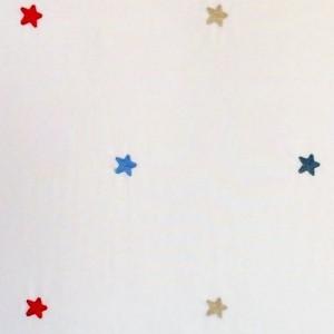 Κουρτίνες με το μέτρο για παιδικά δωμάτια, για κορίτσια , για αγόρια , για bebe δωμάτια Blinki col.1 Φ3.00 κεντητή εκρού φόντο με σιέλ μπεζ κόκκινα αστεράκια βαμβακερή ,ημι-διάφανη