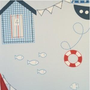 Κουρτίνες με το μέτρο για παιδικά δωμάτια, για κορίτσια , για αγόρια , για bebe δωμάτια Noe col.1 Φ2,80 σιέλ  φόντο με παραστάσεις σε ναυτικό ύφος βαμβακερό ,χωρίς διαφάνεια