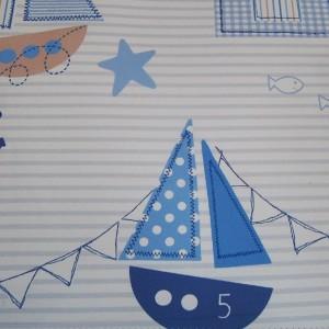 Κουρτίνες με το μέτρο για παιδικά δωμάτια, για κορίτσια , για αγόρια , για bebe δωμάτια Noe col.2 Φ2,80 εκρού φόντο με παραστάσεις σε ναυτικό ύφος βαμβακερό,χωρίς διαφάνεια