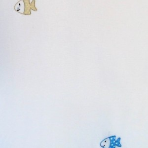 Κουρτίνες με το μέτρο για παιδικά δωμάτια, για κορίτσια , για αγόρια , για bebe δωμάτια Peces col.1 Φ3.00 κεντητή εκρού φόντο με σιέλ μπεζ κόκκινα ψαράκια βαμβακερή ,ημι-διάφανη