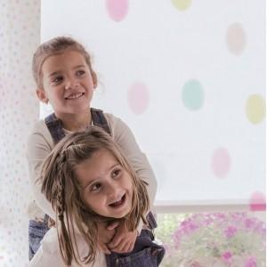 Ρολο-Κουρτίνες , Πάνελ για παιδικά δωμάτια, για κορίτσια , για αγόρια , για bebe δωμάτια Algodon col.1 πολύχρωμο πουά σε παστέλ αποχρώσεις