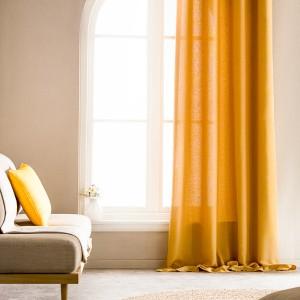 Κουρτίνα Έτοιμη Ραμμένη με ημι-διαφάνεια 140X280 Gofis Home Shine Ώχρα 661/04, με τρουκς