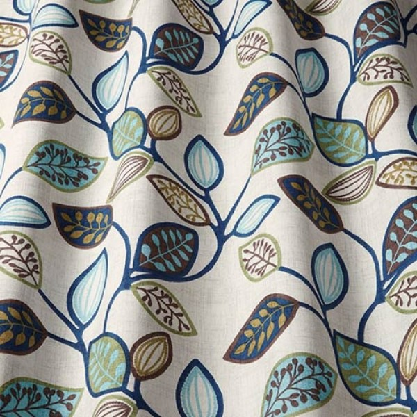 Υφάσματα Κουρτίνες με το μέτρο για Σαλόνι ,Υπνοδωμάτιο ,Καθιστικό iLiv_Chiswick Midnight πολύχρωμο floral σχέδιο με φύλλα βαμβακερό Φ140 χωρίς διαφάνεια