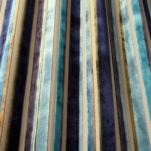 Υφάσματα Κουρτίνες με το μέτρο για Σαλόνι ,Υπνοδωμάτιο ,Καθιστικό iLiv_Festival Midnight πολύχρωμο γεωμετρικό ριγέ βελούδο Φ140 χωρίς διαφάνεια